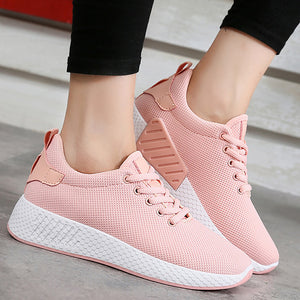 Air Mesh Cotton Fabric Solid Color Sneakers. (3 Colors Available)