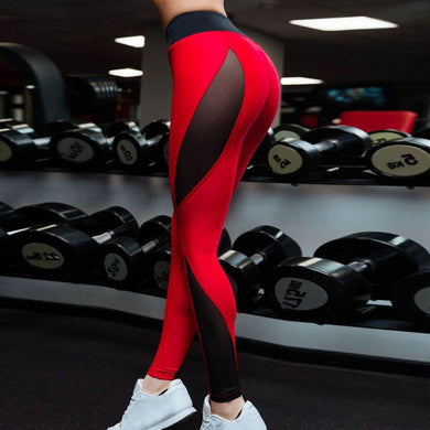 Hot Red And Black Patchwork Fitness Leggings. (Mesh Splice Elastic Sports Tights)