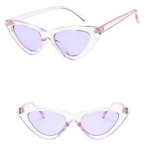 Triangular Slim Cat Eye Vintage Retro Sunglasses. (9 Colors Available)
