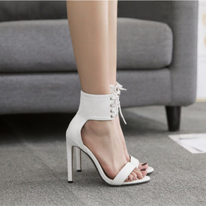Cross Strap Lace Up Bandage High Heeled Sandals. (2 Colors Available)