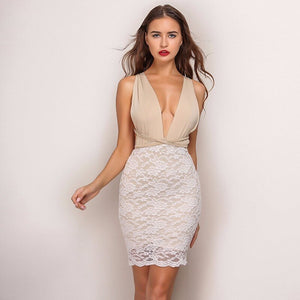 Backless Hollow Out Patchwork Halter Deep V-Neck Bodycon Dress.
