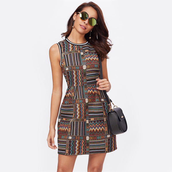 Tribal Embroidered Multicolor Geometric Striped Trim Dress.