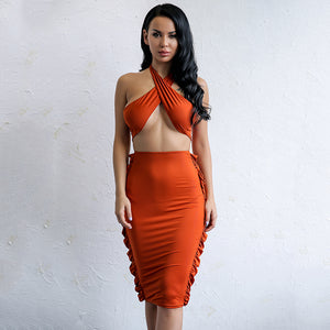 Halter Sleeveless Bodycon Ruffle Two Piece Set. (2 Colors Available)