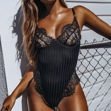 Halter Lace Hollow Out Mesh Skinny Bodysuit. (2 Colors Available)