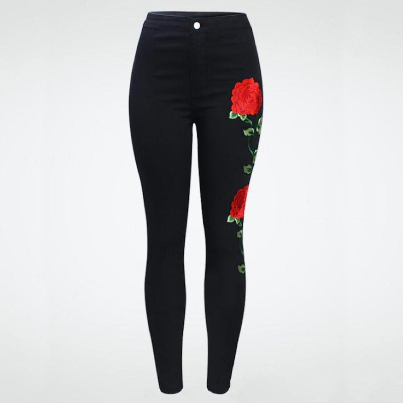 High Waist Floral Embroidery Black Denim Jeans.
