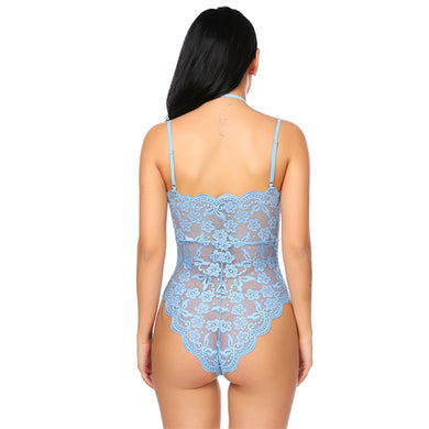 Halter Deep V-Neck Lace Floral Backless Teddy. (5 Colors Available)