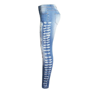 Skinny High Waist Stretch Cotton Ripped Side Denim Jeans.
