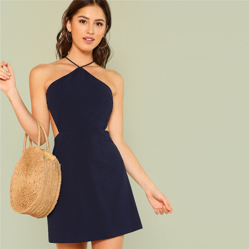 Strappy Back Zipper Halter Mini Backless Dress.