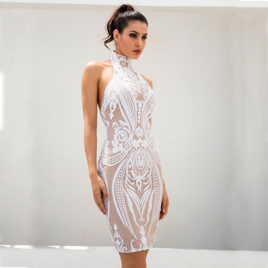 Sequined Halo A-Line Halter Neckline Bodycon Dress.