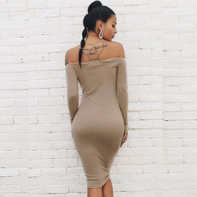 Off Shoulder Long Sleeve Striped Backless Bodycon Dress.