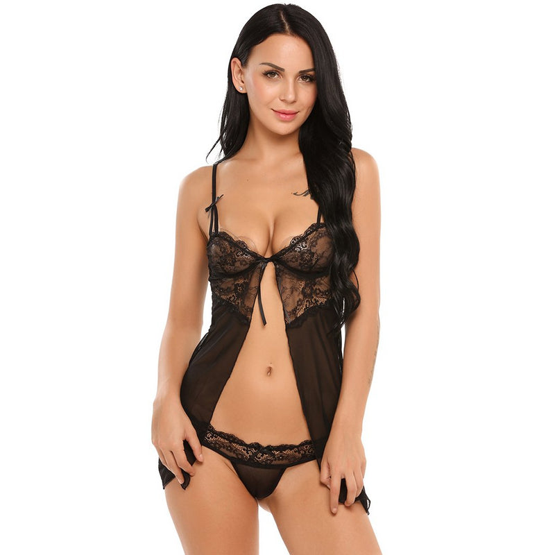 See-Through Lace Lingerie Two Piece Night Dress. (4 Colors Available)