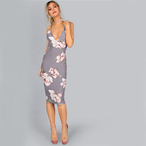 Grey Backless Plunge Neck Floral Below Knee Dress.