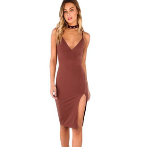 Slim V-Neck Side Split Bodycon Midi Dress.