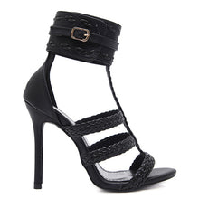 Thin Heel Gladiator Bandage Cross Tied Shoes. (Buckle Strap Ankle-Wrap Heels)