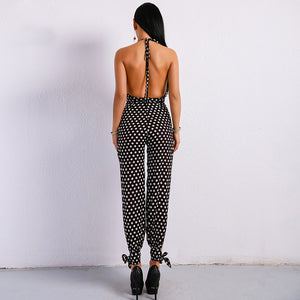 Backless Off Shoulder V-Neck Halter Split Jumpsuit.