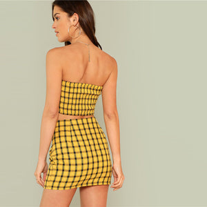 Plaid Print Shirred Strapless Crop Top And Skirt Set.