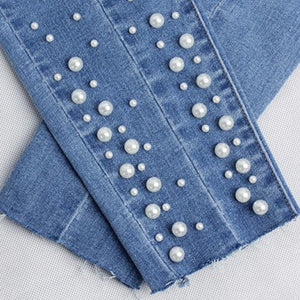 Stretch Cotton Pearled Bottom Denim Jeans.