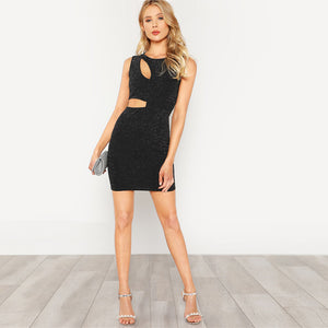 High Waist Cut Out Round Neck Glitter Bodycon Dress.