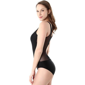Solid One Piece Cut Out Bandage Swimsuit. (Perspective Hollow Out Bathing Suit)