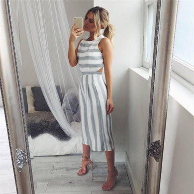 Sleeveless Striped Leotard Wide Leg Loose Jumpsuit.