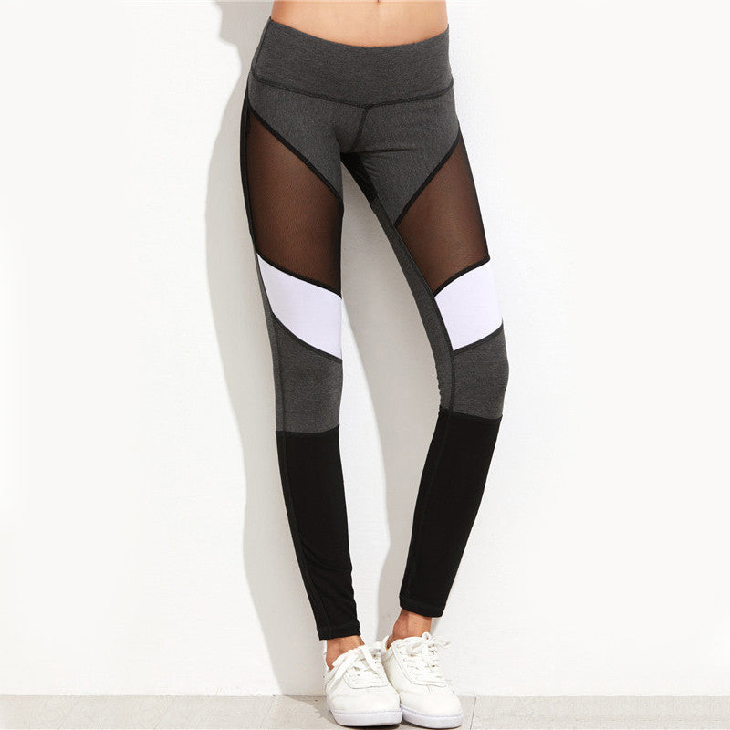 Color Block Mesh Insert Fitness Leggings. (Quick-Dry Sports Tights)