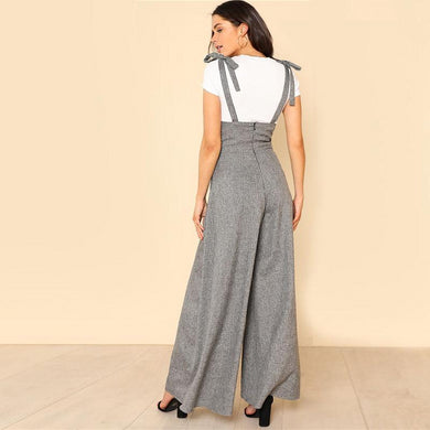 High Waist Sleeveless Self Tie Strap Wide Leg Jumpsuit.