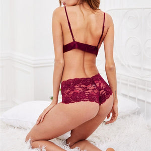 Front Tie Lace Two Piece Burgundy Lingerie Set.