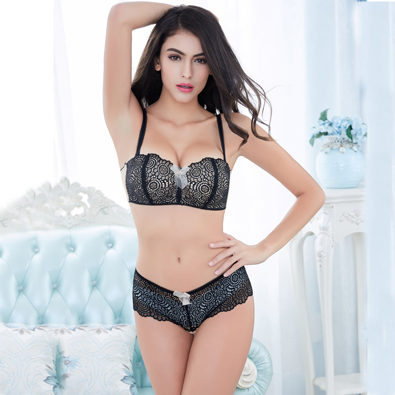 Lace Convertible Straps Lingerie Two Piece Set. (3 Colors Available)