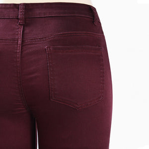 Stretch Mid Waist Ripped Burgundy Skinny Denim Jeans.