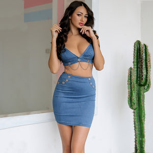 Embroidery Lace Up Hollow Out Bodycon Denim Two Piece Set.