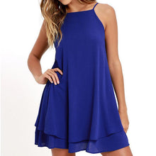 Spaghetti Strap Off Shoulder Chiffon O-Neck Casual Dress. (4 Colors Available)