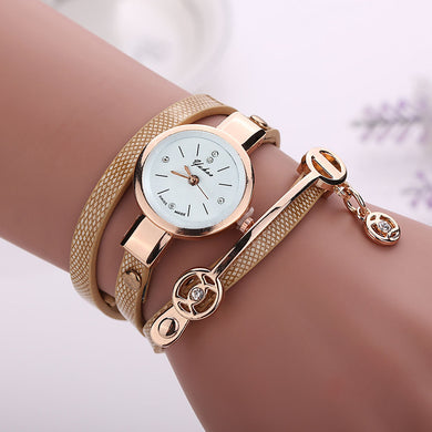 Leather & Metal Strap Alloy Case Bracelet Style Wristwatch. (8 Colors Available)