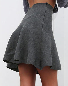 High Waist Pleated A-Line Knitted Mini Skirt. (3 Colors Available)
