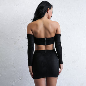Strapless Off-Shoulder High Split Mini Two Piece Set. (2 Colors Available)
