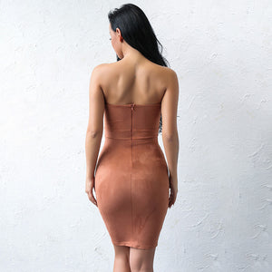 Backless V-Neck Strapless Bodycon Suede Dress. (2 Colors Available)
