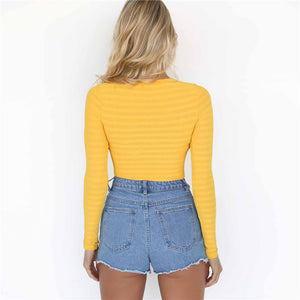 Long Sleeve O-Neck One Piece Bodysuit. (4 Colors Available)