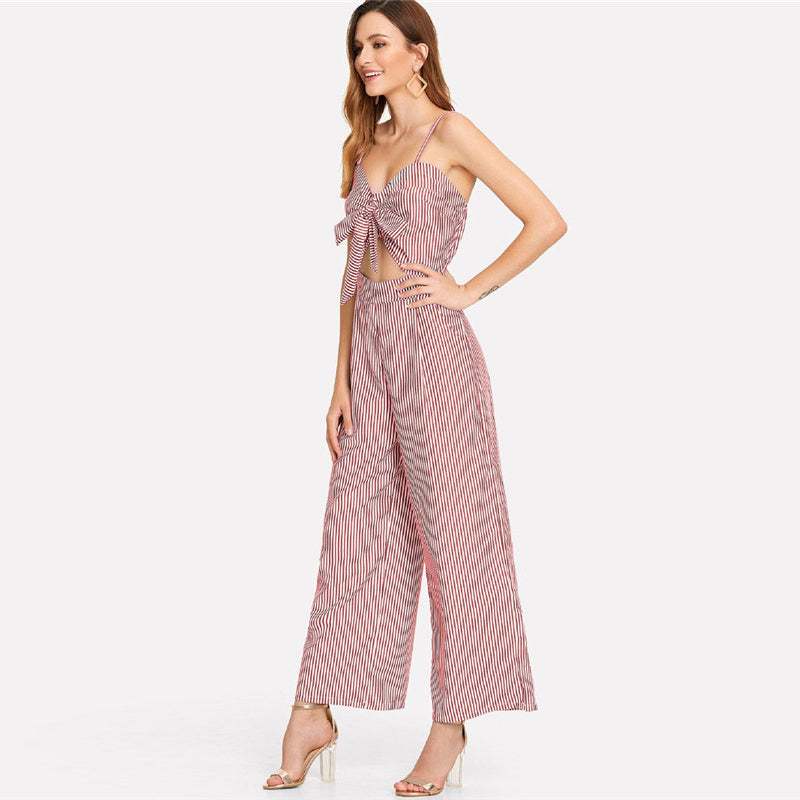 Spaghetti Straps Cut Out Mid Waist Front Knot Jumpsuit.