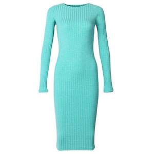 Long Sleeve Midi Sheath Slim Bodycon Robe Dress. (6 Colors Available)