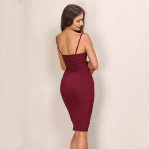 High Waist Backless Deep V-Neck Bandage Pencil Dress. (2 Colors Available)