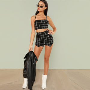 Back Tie Spaghetti Strap Grid Crop Top & Shorts Set.