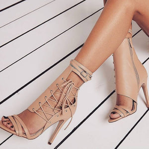 Thin High Heel Open Toe Sandals. (2 Colors Available)