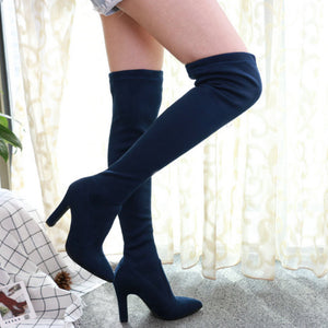 Over The Knee Thin High Heel Pointed Toe Boots. (9 Colors Available)