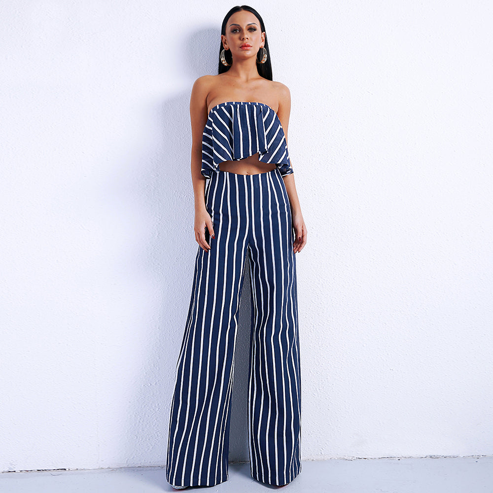 fdeda6dc32a Full Length Off Shoulder Striped Overall Two Piece Jumpsuit. – Uvenux