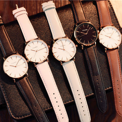 Leather Band Stainless Steel Shock/Water Resistant Watch. (5 Colors Available)