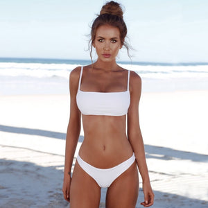 Solid Triangle Push-up Bikini Set. (Padded Bra Swimsuit - 4 Colors Available)