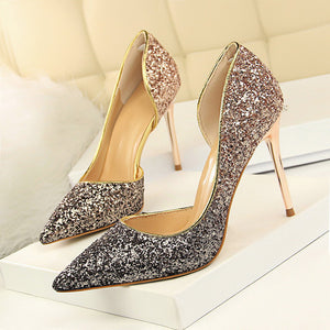 Pointed Toe Sequined Thin High Heel Pumps. (16 Colors Available)