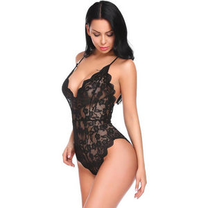 Backless V-Neck Babydoll Style Lingerie Bodysuit. (8 Colors Available)