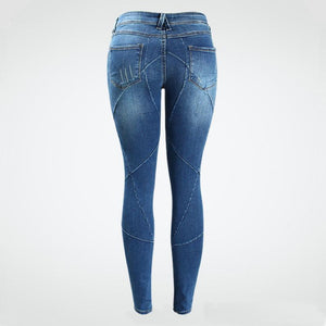 Mid Low Waist Stretch Crossing Line Patchwork Skinny Denim Jeans.