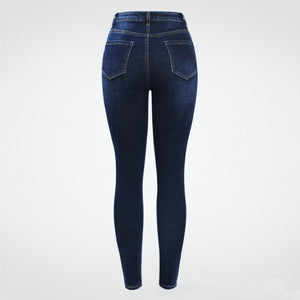 Stretchy High Waist Dark Blue Skinny Denim Jeans.