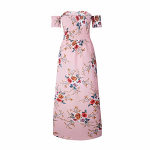 Floral Print Boho Style Off Shoulder Chiffon Dress. (7 Colors Available)